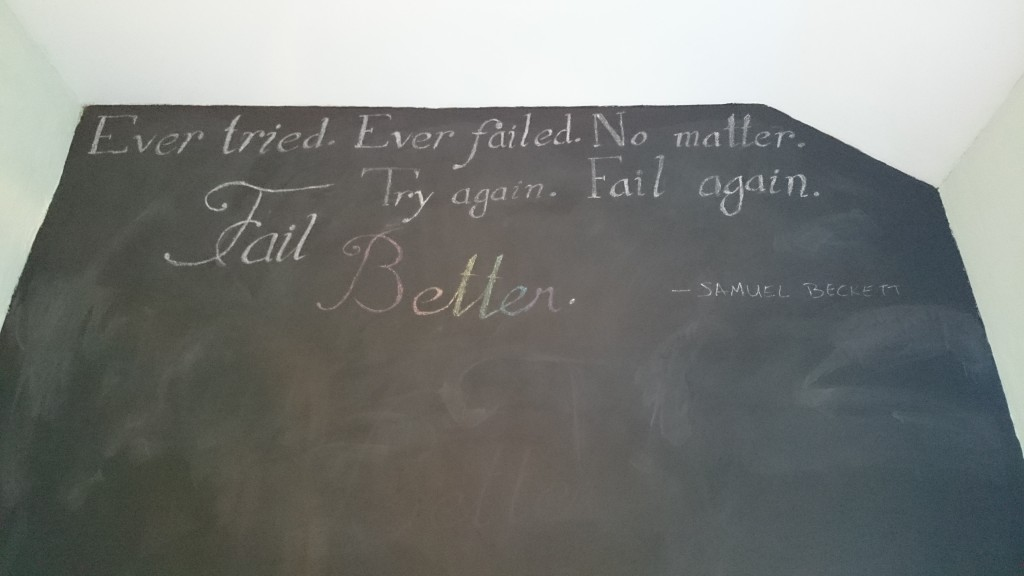 Blackboard wall with Samuel Beckett Quote